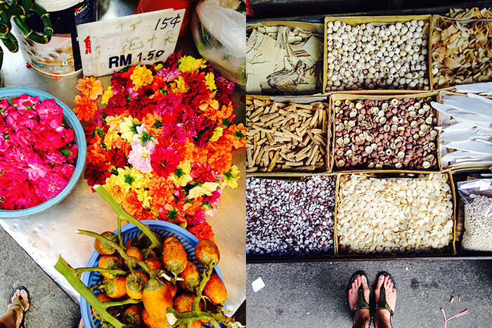 kinkybluefairy-penang-georgetown-market-flowers-herbs